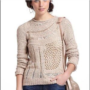 Moth Anthropologie Slanted Openworks Knit Sweater